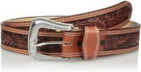 Nocona Mens Western Floral Embossed Leather Belt
