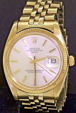 Rolex Oyster Date 1503 14K gold 1978 automatic mens watch with silver dial