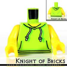 LEGO Minifigure Torso LIME Female Hoodie WHITE Drawstrings SILVER Kangaroo