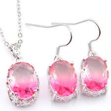 Wedding Set 2 pcs 1 Lot Rose Bi Colored Tourmaline Gems Silver Pendant Earrings
