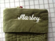 "Pottery Barn Green Channel Quilted Christmas Stocking ""Marley"" New!"