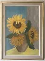 Original Art Oil On Board Painting Sunflowers In Vase After Van Gogh By A C Boyd