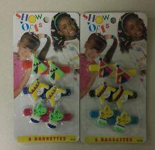 VINTAGE 12 GRIP TIGHT KIDS GIRLS HAIR BARRETTES NEW HONG KONG.