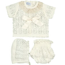 SPANISH BABY GIRLS 3 PIECE KNITTED OUTFIT IVORY PINK FRILL SET REBORN NEWBORN