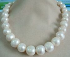 """HUGE 13-15MM SOUTH SEA GENUINE WHITE PEARL NECKLACE 18"""" 14K GOLD CLASP"""