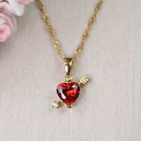 N1 18K Gold Filled Ruby Red Crystal Cupid Heart Necklace & Pendant