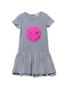 EISEND Kids Happy Girl Kleid grau mit beweglichen Smily pink Gr. 152   NEU