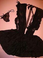 Victoria's Secret DESIGNER COLLECTION S BABYDOLL+thong BLACK floral  lace SILK