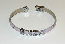 A-Z Rhinestone Alphabetic Wristbands Adjustable Length Fits All Slide-in Letters