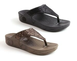 WOMENS LADIES LOW WEDGE SPORTS POSTURE GYM FIT FLOP WALKING SANDALS SHOES NEW