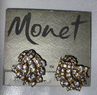 Vintage Gold Tone Rhinestone MONET Clip Earrings - NW Estate sale gorgeous