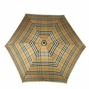 Auth Burberry Vintage Nova Check Plaid Foldable Rain Umbrella F/S 18399bkac