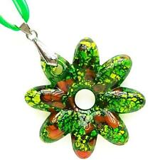 Green Silver Foil Flower Lampwork Murano Glass Bead Pendant Ribbon Necklace Cord