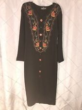 Carole Little Long Embroidered Button Front Black Sweater Dress sz L
