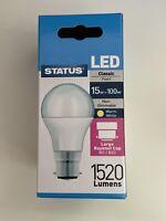 2 x  LED 13 watt B.C. LED GLS Lamp 1520 Lumen 100w equivalent Light Bulb - Pearl