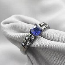 TOP Cut 18k Black Gold Filled Blue Crystal Wedding Ring Set Gift Rings Sz 8 QA2