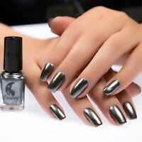 2Pcs 6ml Metallic Nail Polish Base Coat Nail Art Mirror Effect Varnish Gray Set