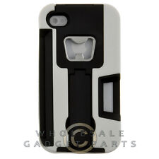 Apple iPhone 4/i4S Dual Layer Bottle Opener Case w/ Stand White Cover Shell Skin