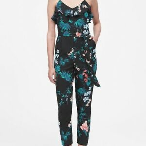 Banana Republic Women's Black Floral Print Ruffled Jumpsuit Size 8 NWT