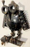 "The ""Met-OWL"" Industrial Scrap Metal Owl Sculpture Original Steampunk Folk Art"