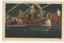 Water Front By Illumination Detroit Michigan Usa Vintage Postcard Us013