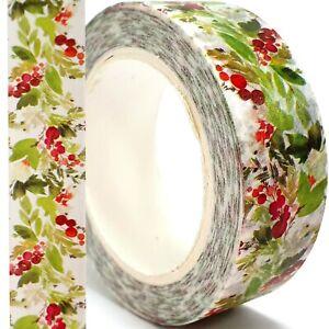 HOLLY LEAF WASHI TAPE Christmas Xmas Craft Self Adhesive Paper Masking Strip 10m
