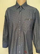 JOHN LENNON LADYBUG PRINT BUTTON UP SHIRT Chambray Stripe CINCH WAIST Crisp L