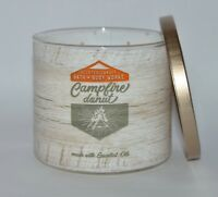 BATH BODY WORKS CAMPFIRE DONUT SCENTED CANDLE 3 WICK LARGE 14.5OZ CEDARWOOD OIL
