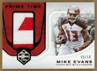 2018 Panini Limited Mike Evans Red Prime Time Game Used Jersey Patch #/10 SSP