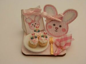 Dolls house food: Easter bunny  cupcakes  display board -By Fran