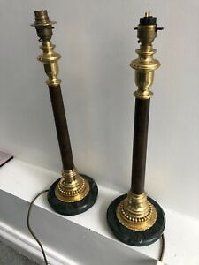 Marble and Brass candlesticks pair of side table lamps