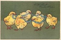 PFB Easter~Chicks Carry Forget-me-Not Flower Chain in Beaks~Olive Back~Embossed