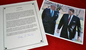GEORGE SHULTZ Signed PRESIDENT RONALD REAGAN Autograph Book Page, COA, UACC