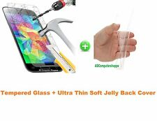 Ultrathin Transparent Soft Jelly Back Case Cover +Tempered Glass For LG G3 D855