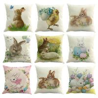 Easter Sofa Home Decor Festival Pillow Case Rabbit Cotton Linen Cushion Covers
