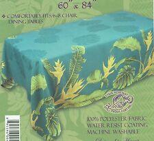 """Hawaiian Quilt Print Water Resist Hawaii Tablecloth 60 x 108"""" Teal"""