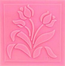 Tulip Flowers w/leaves Impression Silicone Mold for Fondant, Crafts etc.