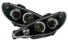Clear Black Headlights front lights with angel eye rings for PEUGEOT 206