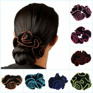Spanish Rose Flower Velvet Hair Scrunchies Elastic Hair Bobbles Hair Scrunchie