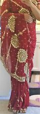 Designer Wedding Stiched Saree With Designer Blouse Maroon with Gold Sequins