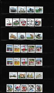 Canada definitive used complete sets 2011-2013 all different stamps off paper