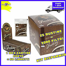 3000 Cartine SMOKING BROWN Corte 1BOX + 3000 FILTRI SLIM SMOKING BROWN 6mm
