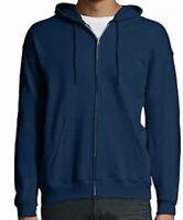 Hanes Unisex Ecosmart Fleece Zip Up Hoodie with Pockets Navy Blue Size 2XL NWOT