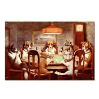 Funny Dogs Playing Poker Pets Vintage Retro Tin Sign Metal Sign