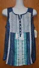 Womens Pretty Blue Print Style&co Sleeveless Shirt Tank Top Size PL NWT NEW