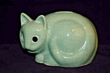 Green Crackle Finish Vintage Tiffany & Co Cat Coin Change Bank 1979