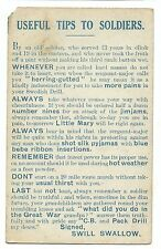 "WW1 Military Comic Useful Tips to Soldiers PC Unposted ""By an Old Soldier"""