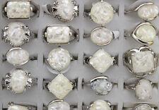 Newest Lots 30pcs Nature Shell Silver P Women's Charm White Fashion rings