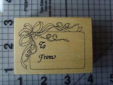 """PSX (PERSONAL Stamp Exchange) """"Etichetta da regalo"""" legno montato timbro"""