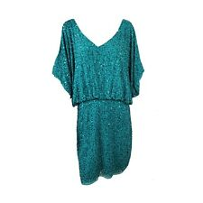 Aidan Mattox Sequined Cold Shoulder Dress Cocktail Party Turquoise Size 12